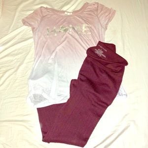Maurices lunge bundle top and fleece leggings